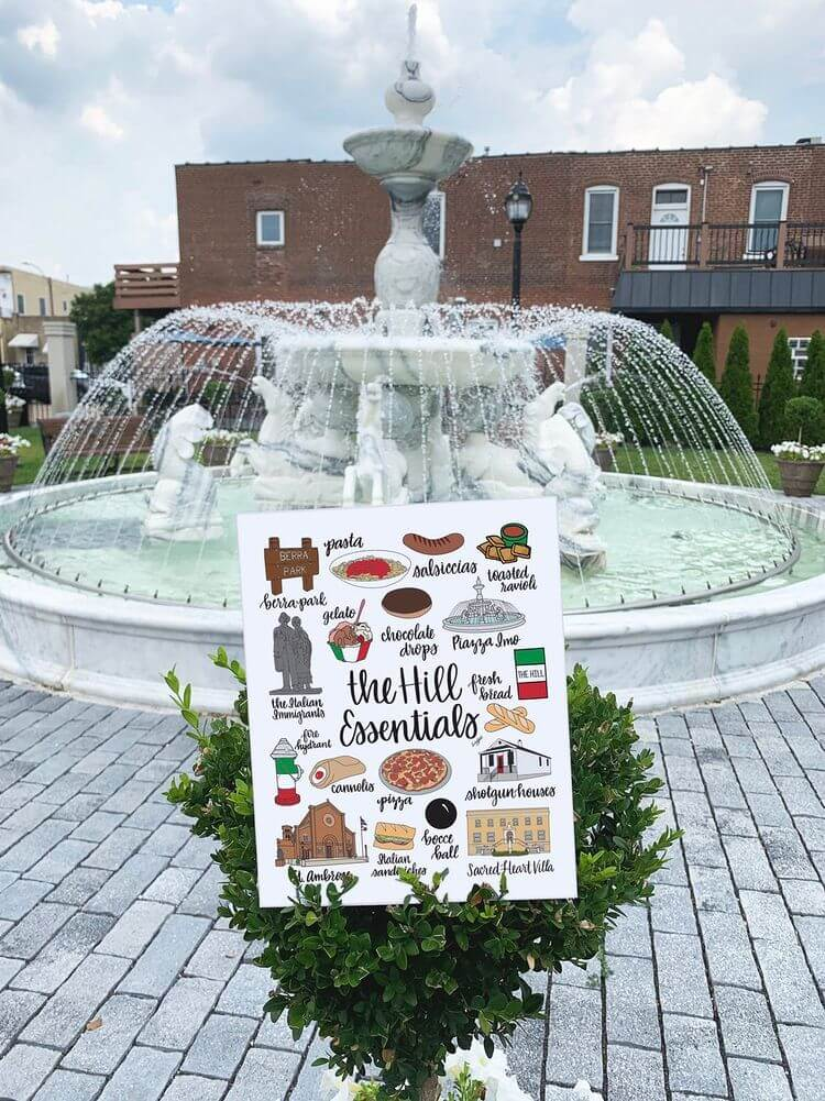 st louis food types in front of fountain