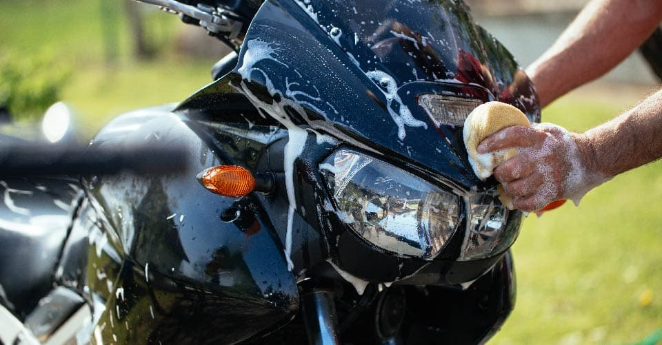 Wash your motorcycle before storing