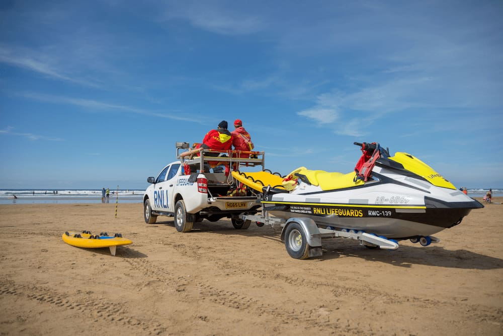 a rescue jet ski on a trailer
