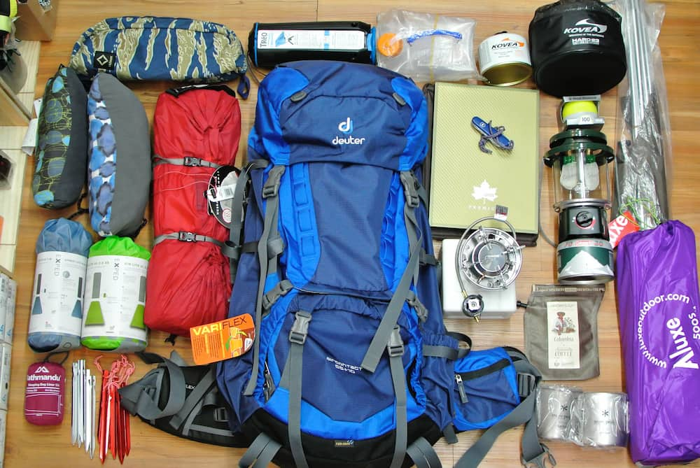 camping and hiking gear to put in season storage for the fall
