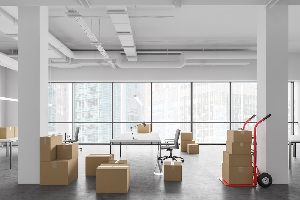boxes in empty office that moved to a new location