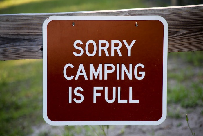 Campground is Full sign