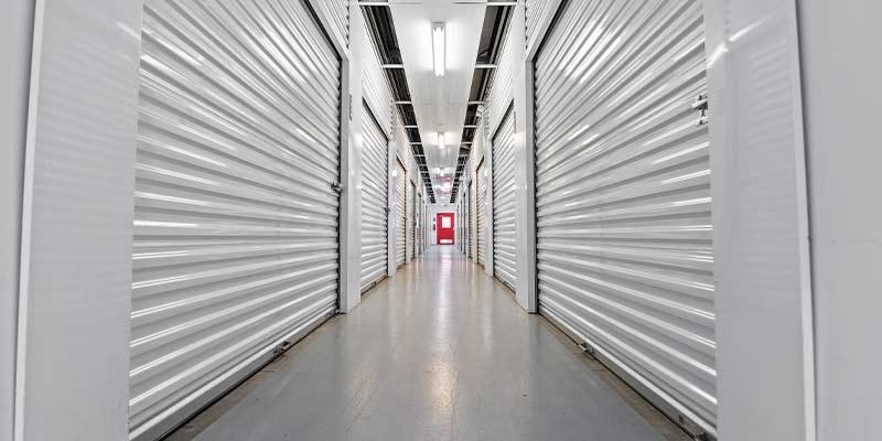 white indoor storage units