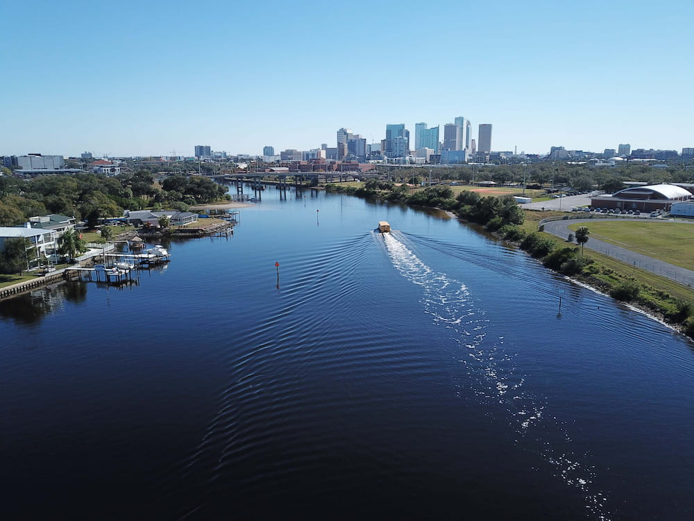 Drone Photography of downtown Tampa, Florida, and the Hillsborough river