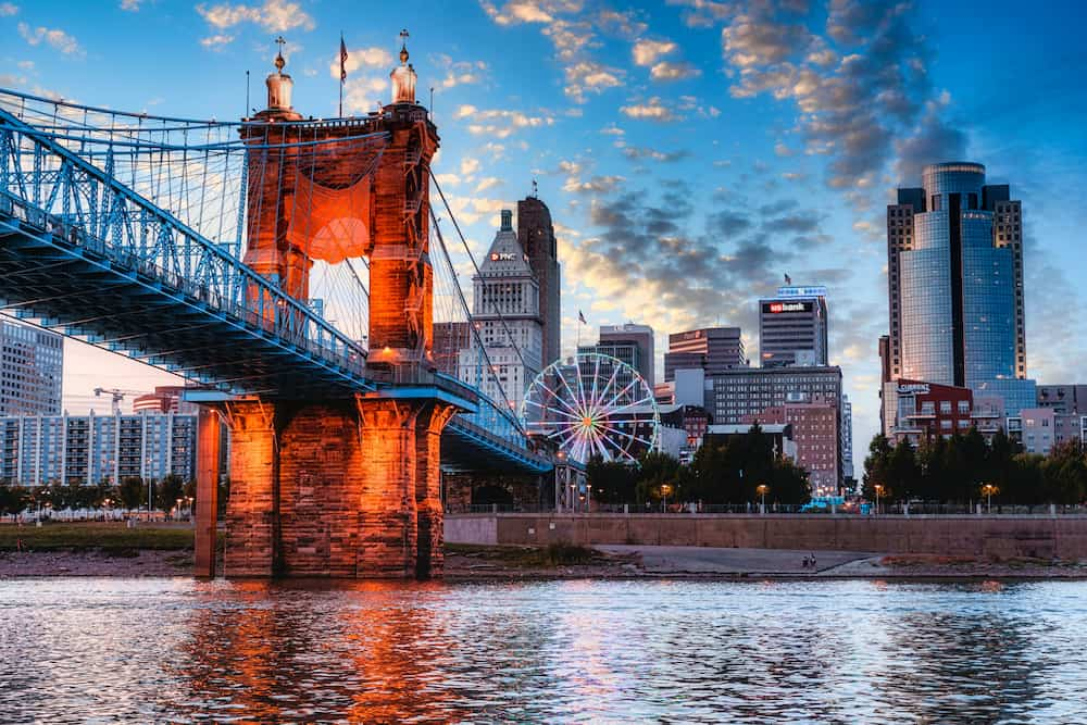 City of Cincinnati bridge and city lights