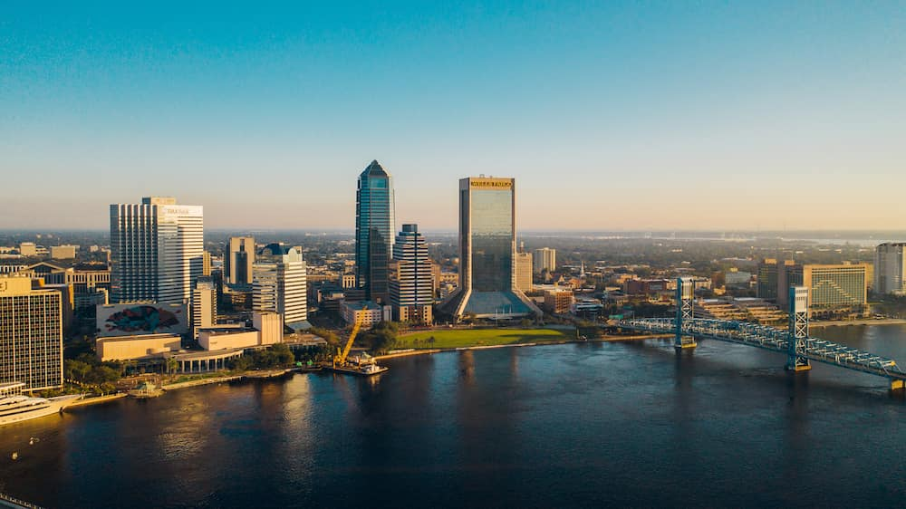 an aerial image of downtown Jacksonville, FL
